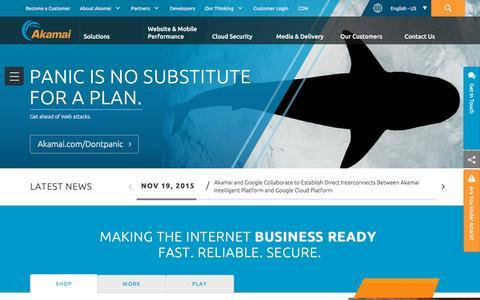Screenshot of Home Page akamai.com - Content Delivery Network (CDN) & Cloud Computing Services | Akamai - captured Dec. 1, 2015