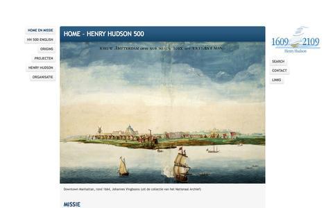 Screenshot of Home Page henryhudson500.com - Stichting Henry Hudson | 500 - captured Oct. 2, 2014