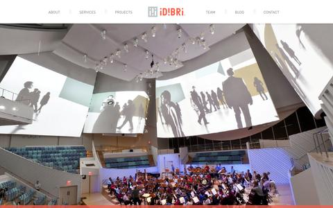 Screenshot of Home Page idibri.com - Technology, Acoustics and Theatre Consulting | Idibri - captured Sept. 30, 2014