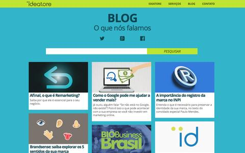 Screenshot of Blog ideatore.com.br - Blog | Propaganda, Marketing, Desenvolvimento, Branding | Ideatore - captured Jan. 8, 2016