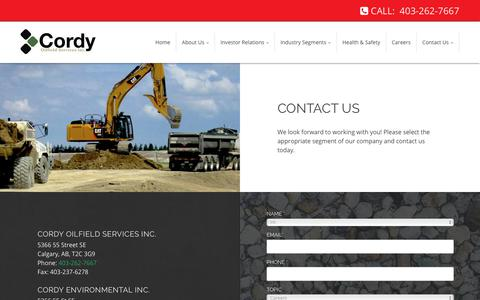 Screenshot of Contact Page cordy.ca - Cordy Oilfield Services Inc. | Calgary - Alberta | Contact - captured Sept. 29, 2018