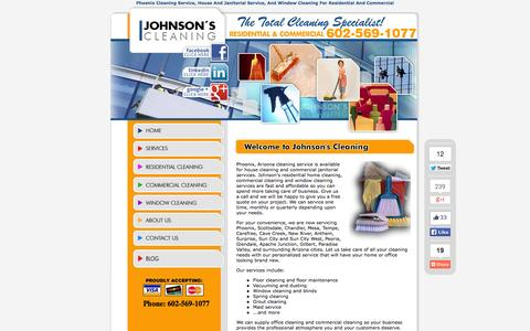 Screenshot of Home Page phoenixcleaningservice.com - Phoenix Cleaning Service, Johnsons House Cleaning, Commercial Janitorial - captured Oct. 6, 2014