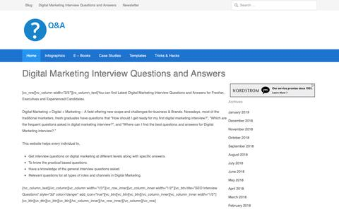 Screenshot of Home Page digitalmarketinginterview.com - Digital Marketing Interview Questions and Answers : Crack Interviews - captured Feb. 2, 2019