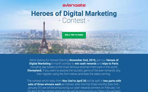 Screenshot of Landing Page avangate.com - Heroes of Digital Marketing - Win a Trip to Paris! - captured Aug. 12, 2016