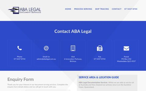 Screenshot of Contact Page abalegal.com.au - Contact ABA Legal Document Service - Sunshine Coast Queensland - captured Nov. 19, 2016