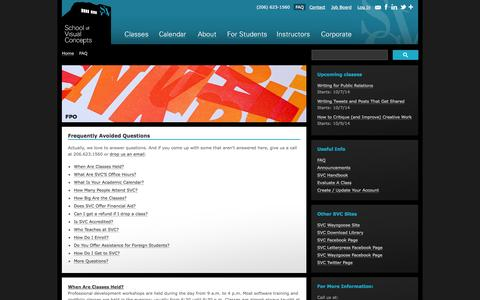 Screenshot of FAQ Page svcseattle.com - Frequently Avoided Questions | School of Visual Concepts | Graphic Design, Advertising, Web Design & Marketing Communications Training - captured Oct. 4, 2014