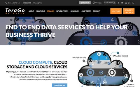 Screenshot of Services Page terago.ca - Business Services - Internet, Cloud & Data - TeraGo Networks - captured Jan. 15, 2016