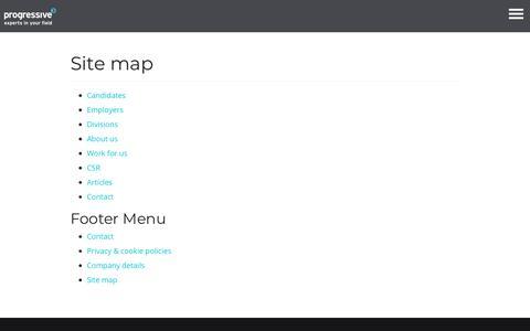 Site map - Progressive Recruitment