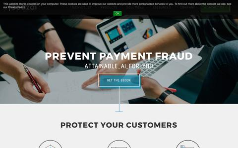 Screenshot of Products Page feedzai.com - Fraud Protection Solutions for Online Commerce - captured Sept. 25, 2017