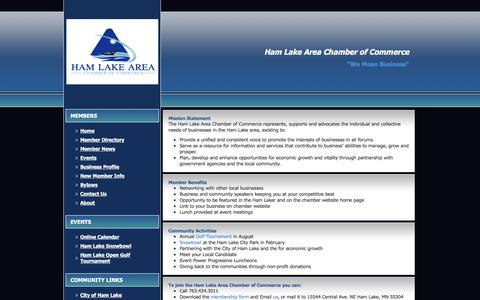 Screenshot of About Page hamlakecc.org - Ham Lake Area Chamber of Commerce - About Us - captured Oct. 19, 2016