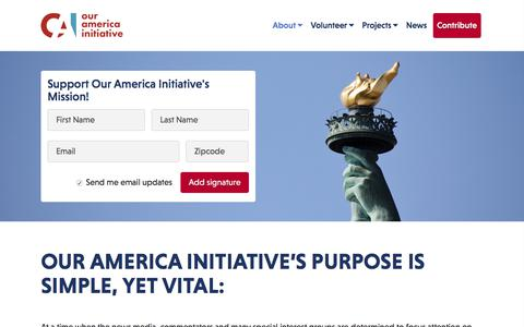Screenshot of About Page ouramericainitiative.com - About - Our America Initiative - captured June 23, 2017