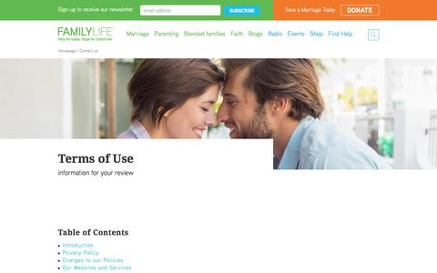 Screenshot of Terms Page familylife.com - Terms of Use - captured Jan. 8, 2016