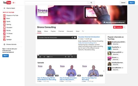 Screenshot of YouTube Page youtube.com - Sirona Consulting  - YouTube - captured Oct. 23, 2014