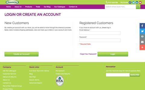 Screenshot of Login Page haxnicks.co.uk - Customer Login | Haxnicks - captured Nov. 2, 2016