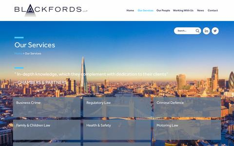 Screenshot of Services Page blackfords.com - Our Services | Blackfords LLP - captured Oct. 6, 2018