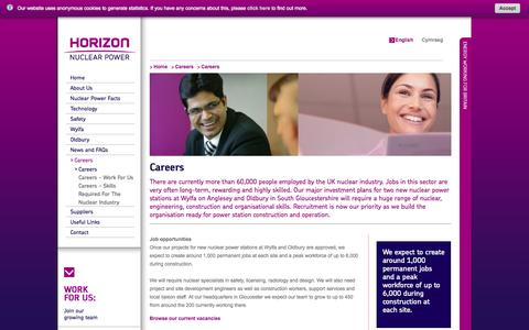 Screenshot of Jobs Page horizonnuclearpower.com - Careers - Horizon Nuclear Power - captured Sept. 30, 2014