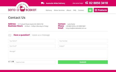 Screenshot of Contact Page sendabasket.com.au - Contact Julie Clarke -Send a Basket - Gift,Hamper Delivered - captured Feb. 26, 2016