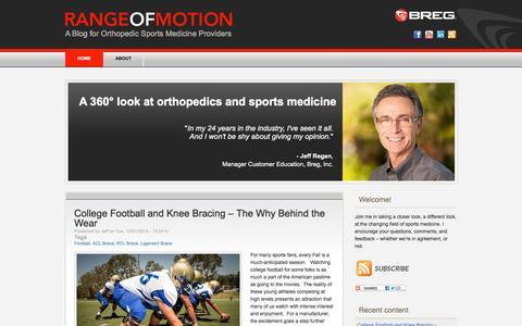 Screenshot of Blog breg.com - Range of Motion   A Blog for Orthopedic Sports Medicine Providers - captured Sept. 24, 2014
