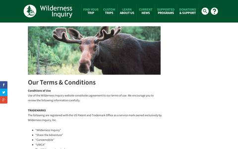 Screenshot of Terms Page wildernessinquiry.org - Terms - Wilderness Inquiry - captured Oct. 20, 2018