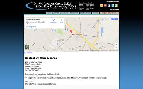 Screenshot of Contact Page Maps & Directions Page drclinedds.com - Contact Dr. Cline Monroe Dentist NC - Cosmetic, Implants, Whitening - captured June 20, 2016