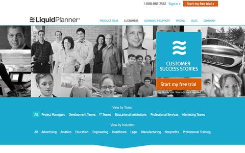 Screenshot of Case Studies Page liquidplanner.com - LiquidPlanner Customer Case Studies - captured June 16, 2015