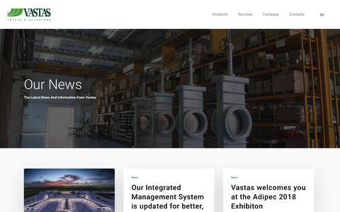 Screenshot of Press Page vastas.com - News   Valves - captured Nov. 18, 2018