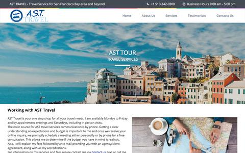 Screenshot of Services Page asttours.com - Services | AST Travel & Tours - captured Oct. 7, 2017