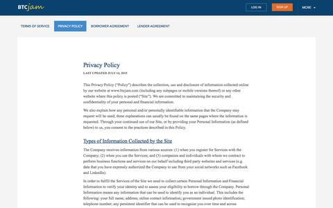 BTCJam Privacy Policy - BTCJam