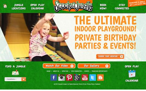 Screenshot of Home Page scootersjungle.com - Scooter's Jungle | Children's Birthday Party | Private Indoor Fun - captured Jan. 23, 2015