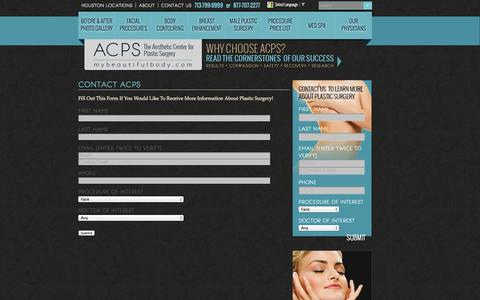 Screenshot of Contact Page mybeautifulbody.com - Houston Plastic Surgery |  Contact Us - captured Oct. 4, 2014