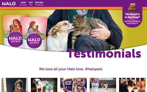 Screenshot of Testimonials Page halopets.com - Testimonials   Halo, Purely for Pets - captured Sept. 23, 2018