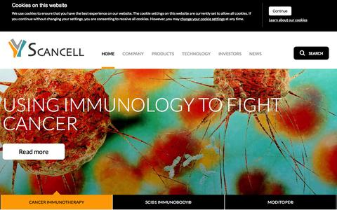Screenshot of Home Page scancell.co.uk - Scancell: Using Immunology to Fight Cancer - Scancell - captured Aug. 11, 2015