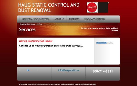 Screenshot of Services Page haug-static.us - Contact us at Haug to perform Static and Dust Surveys - captured Oct. 2, 2014