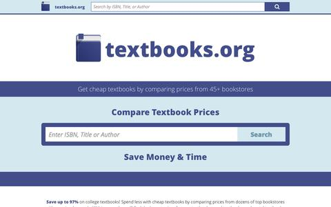 Screenshot of Home Page textbooks.org - Textbooks.org | Compare Textbook Prices - captured June 19, 2015