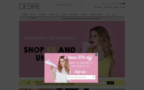 Screenshot of Home Page desireclothing.co.uk - Women's Clothes & Fashion   Clothing Shop Online   Desire - captured Sept. 22, 2014