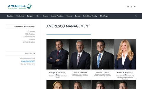 Screenshot of Team Page ameresco.com - Management Team | Ameresco Renewable Energy - captured May 4, 2019