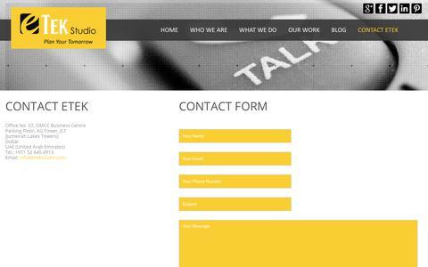 Screenshot of Contact Page Maps & Directions Page etekstudio.com - Contact - eTek Studio - captured July 25, 2018