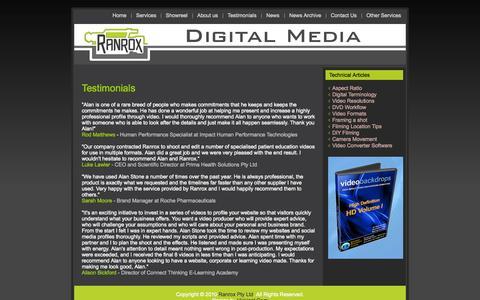 Screenshot of Testimonials Page ranrox.com.au - Recomended Video Producer Testimonials - captured Oct. 7, 2014