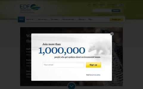 Screenshot of Home Page edf.org - Environmental Defense Fund - captured Oct. 1, 2015