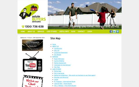 Screenshot of Site Map Page astutebuyersadvocates.com.au captured Sept. 30, 2014