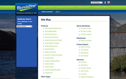 Screenshot of Site Map Page blundstone.com - Site Map - captured Sept. 23, 2014