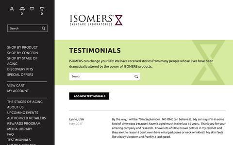 Screenshot of Testimonials Page isomers.ca - Testimonials - Isomers Laboratories Inc - captured Dec. 19, 2018