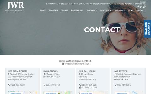 Screenshot of Contact Page jwrecruitment.co.uk - Contact James Webber Recruitment   Hospitality Recruitment - captured Oct. 13, 2018