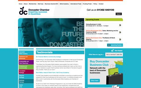 Screenshot of Testimonials Page doncaster-chamber.co.uk - Testimonials - captured Oct. 29, 2014