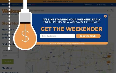 Screenshot of Locations Page weekendsonly.com - Store Hours & Locations | Weekends Only Furniture - captured Oct. 19, 2018