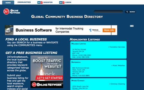 Screenshot of Home Page 247onlinenetwork.com - Business Directory | 247onlineNetwork - captured Sept. 13, 2015