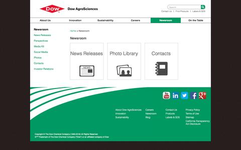 Screenshot of Press Page dowagro.com - Newsroom | Dow AgroSciences - captured Nov. 24, 2016