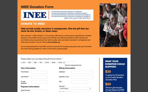 Screenshot of Landing Page rescue.org - INEE Donation Form | International Rescue Committee - captured March 2, 2016