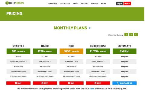 Screenshot of Pricing Page deepcrawl.co.uk - Pricing | DeepCrawl - captured Nov. 6, 2014
