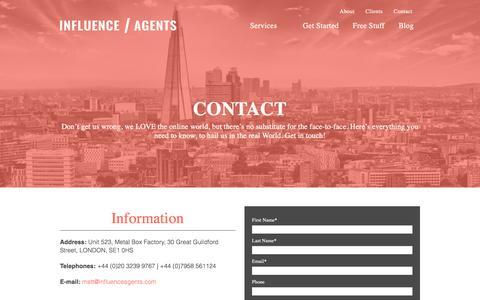 Screenshot of Contact Page influenceagents.com - Contact - captured Jan. 8, 2016